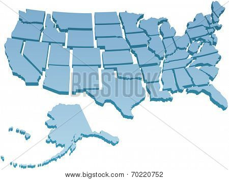 Map of America USA with the fifty individual states separated