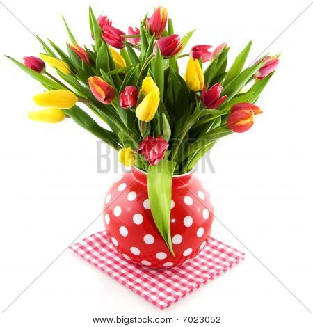 Colorful Tulips In Spotted Vase