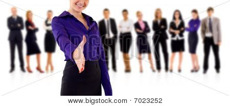 Businesswoman Welcoming