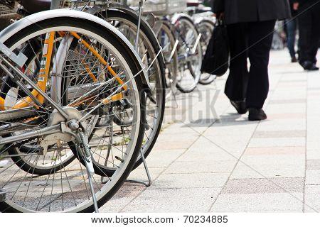 Lot of Bicycles parking at Tokyo, Japan