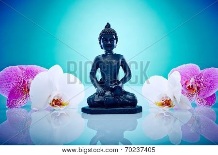 Buddah With Pink And White Orchis