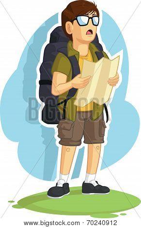 Backpacker Boy Reading Road Map