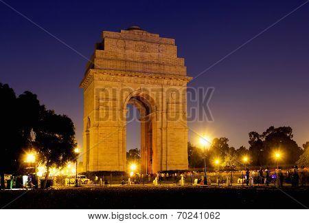 India Gate war memorial in New Delhi, India