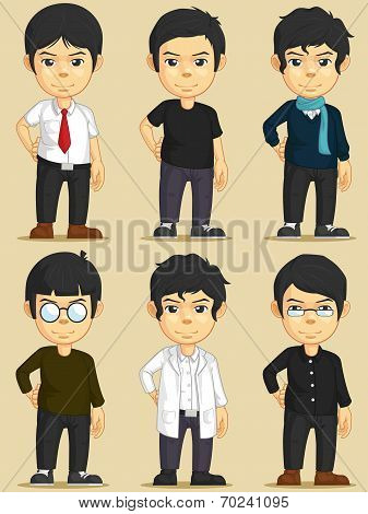 Handsome Young Man Character Set