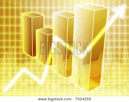 Barchart and upwards line graph financial diagram poster