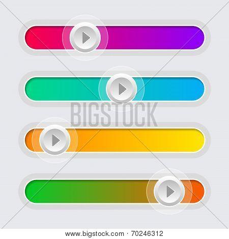 UI Color Volume Control Sliders Set. Vector.