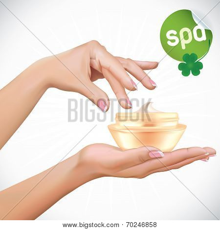 Woman Hands With Cream Jar