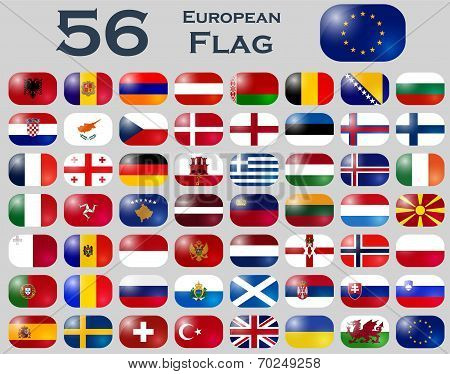 Vector set of European flags in oval shape. poster