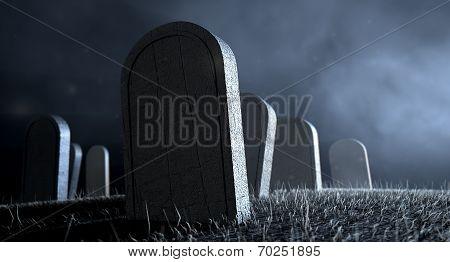 Graveyard Tombstones At Night