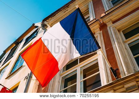 French Tricolours Flag Decorate A Local Government Building In Paris France poster
