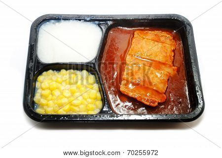 Bbq Pork Tv Dinner With Corn And Potatoes