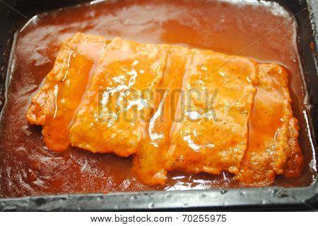 Close Up Of A Processed Boneless Pork Patty