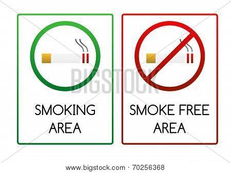 Signs For Smoking And Smoke Free Area