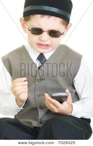 Vexed kid with palm computer and stylus closeup photo against white poster