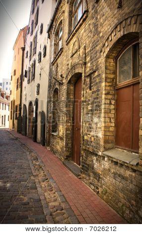 Empty Street In The Old Center, Riga, Latvia