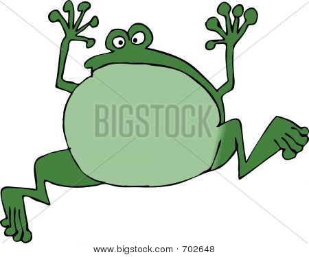 This illustration depicts a jumping frog. poster