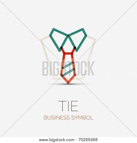 Vector tie and shirt company logo design, business symbol concept, minimal line style poster