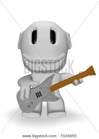 caricature of smiling man with electric guitar