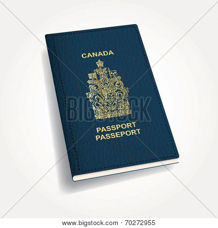 vector blue leather Canadian passport