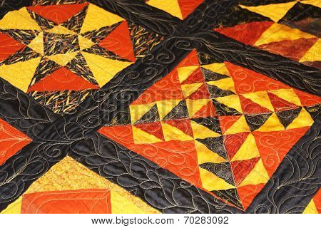 Details of a quilted blanket