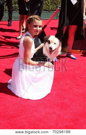 LOS ANGELES - AUG 16:  G Hannelius, Kuma at the 2014 Creative Emmy Awards - Arrivals at Nokia Theater on August 16, 2014 in Los Angeles, CA