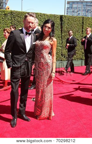 LOS ANGELES - AUG 16:  Brian Tyler, Venus Faas at the 2014 Creative Emmy Awards - Arrivals at Nokia Theater on August 16, 2014 in Los Angeles, CA