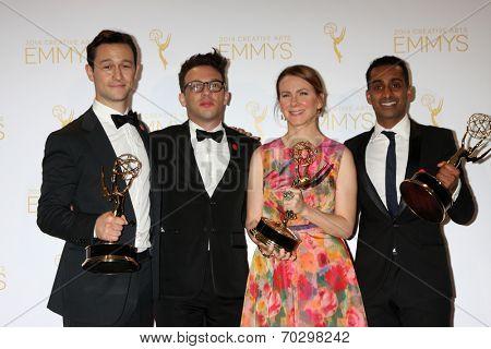 LOS ANGELES - AUG 16:  Joseph Gordon-Levitt, Jared Geller, Belisa Balaban, Gaurav Misra at the 2014 Creative Emmy Awards - Press Room at Nokia Theater on August 16, 2014 in Los Angeles, CA