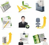 Set of the on-line recruiting related icons poster