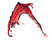 splashes of red transparent liquid isolated on white background poster