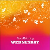 Days of the Week. Wednesday. Text good morning Wednesday on a purple background poster