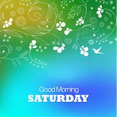 Days of the Week. Saturday. Text good morning Saturday on a green background poster