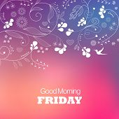 Days of the Week. Friday. Text good morning Friday on a brown background poster