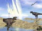 Tyrannosaurus rex and pteranodon looking at meteorite impact in Yucatan, Mexico, that created Chicxulub crater and induced end of dinosaurs - 3D render poster