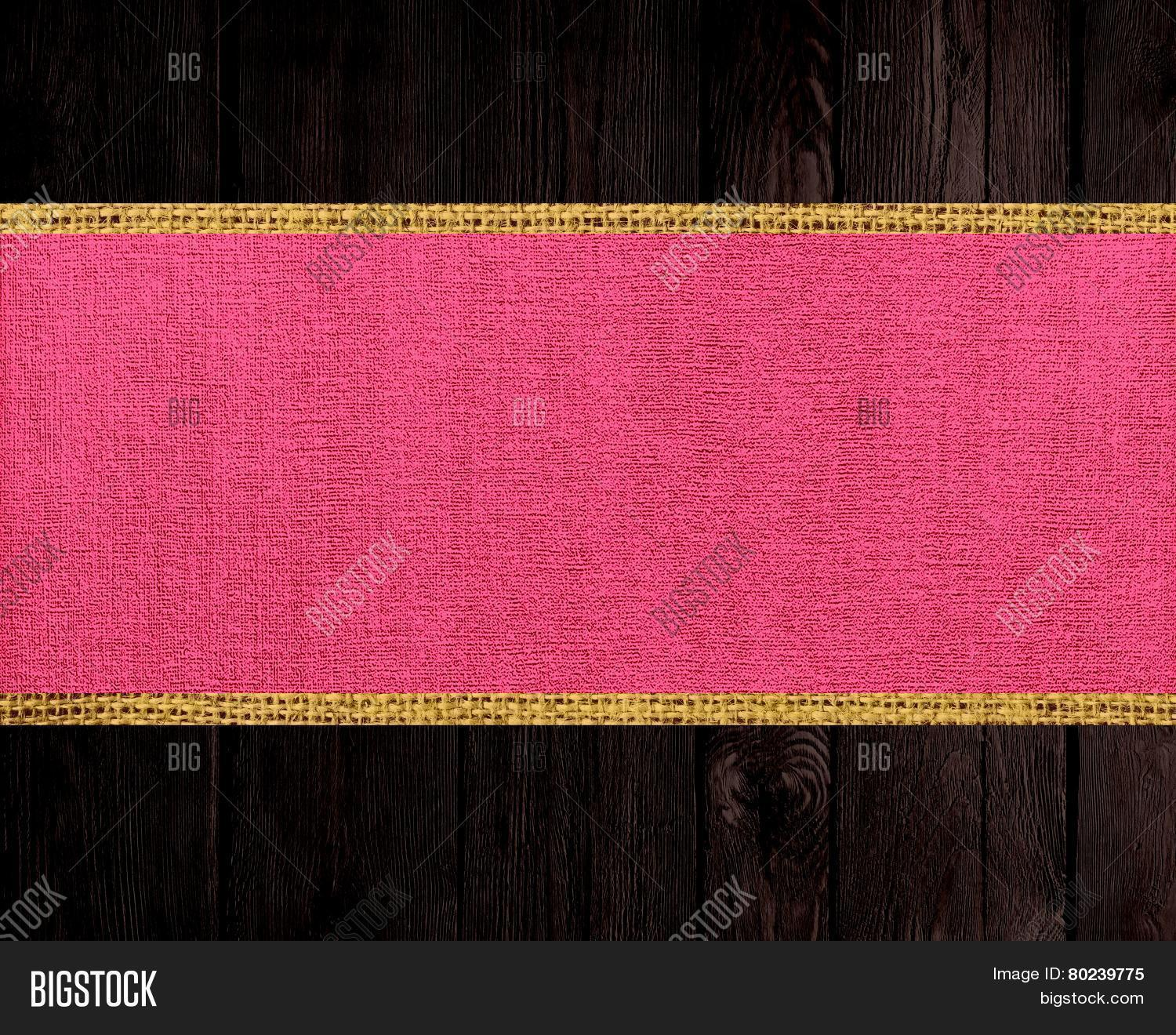 Hot Pink Burlap Rustic Canvas Banner Textured With Dark Wood Background