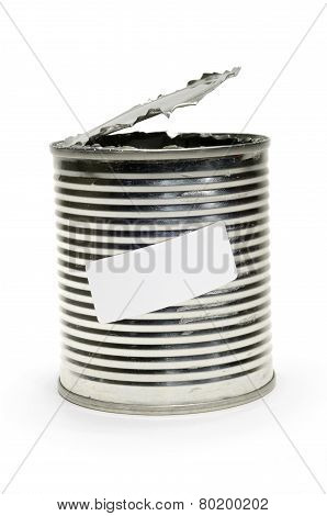 Opened Tin Can With Label