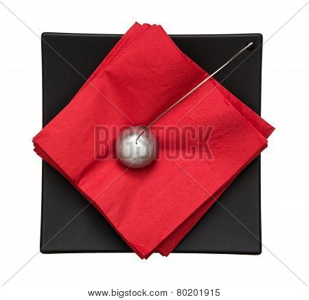 Napkin Holder With Paperweight - View From Above
