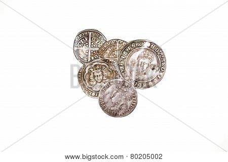 Antique England And  France Silver Coins On White Background