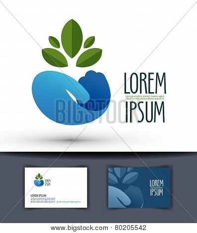grower vector logo design template. plant or ecology icon.