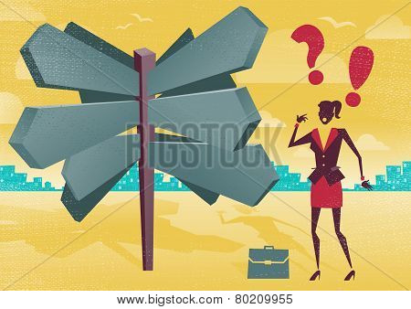 Businesswoman At A Blank Sign Post Dilemma.