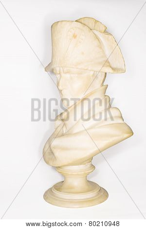 Marble Bust Of Napoleon Bonaparte On A White Background