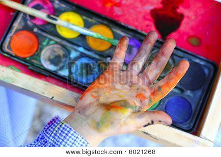 Artist Children Painting Brush Hands