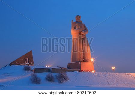 Monument Defenders of the Soviet Arctic during the Great Patriotic War (Alyosha) winter night Murmansk Russia poster