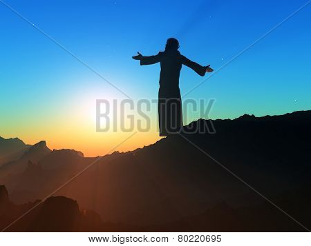 Priest piously on the mountain.