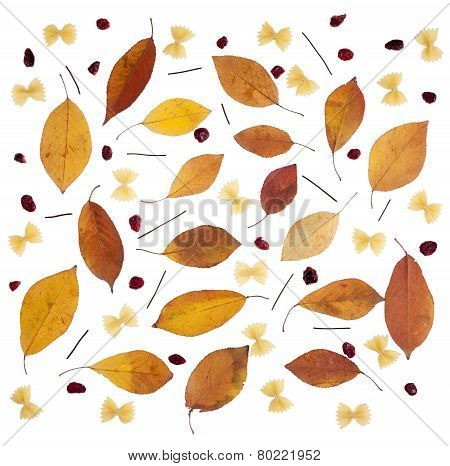Abstract Decorative Background With  Pasta, Cherry, Farfale And Cranberry On White