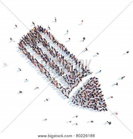 People in the form of a stick.