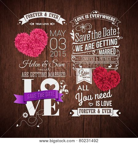 Wooden background, typography design and decorative hearts.