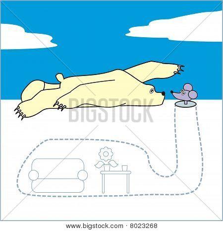 Polar bear and mouse.