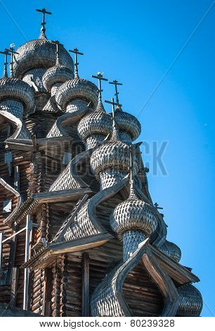 "Historical and Architectural Museum ""Kizhi"". Domes of wooden church in Kizhi poster"