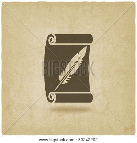scroll and feather writing symbol old background - vector illustration. eps 10 poster