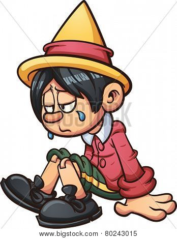 Sad marionette crying. Vector clip art illustration with simple gradients. All in a single layer.